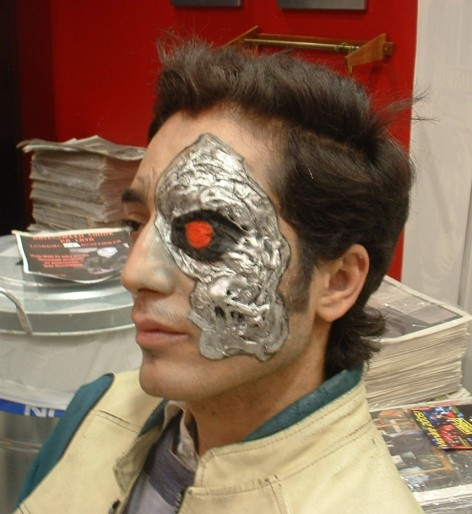 "Theatrical ""Terminator"" halloween makeup. Done with foam gelatine, airbrush makeup, water-based make-up and a piece of cotton."
